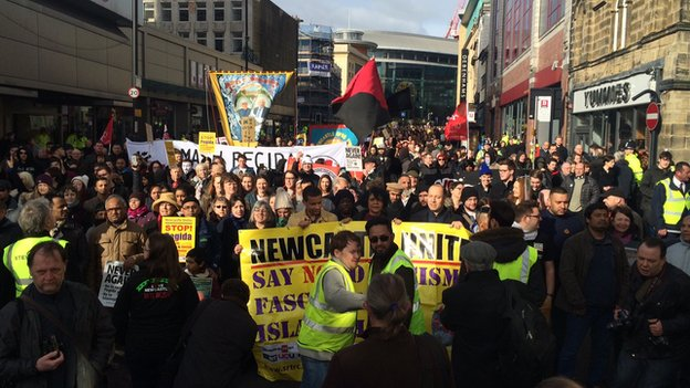 Over 1500 counter-protestors turned out in Newcastle to oppose barely 200 PEGIDA members.